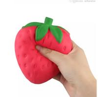 Squishy jumbo de simulation de fraises colossal gros 12cm fruit sac kawaii charme de téléphone spongieux fruit lent rebond jouet en peluche jouet