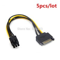 Wholesale- 5pcs 15Pin SATA to 6Pin Power Cable Adapter Conne...