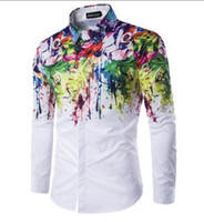 new Men Fashion Shirt Pattern Design Long Sleeve Flower pain...
