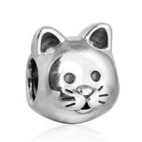 Любопытно Cat Charms Bear Authenicle 925 Стерлинговое серебро 925 Старинные бусины для животных для DIY Braclets Braclets Мода