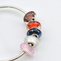 EDELL 925Sterling silver Murano Glass Beads Fits DIY Pandora pulsera Bubble Charm Perlas sueltas Original mujeres DIY joyería al por mayor