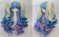 New style Wig + 2 Pig Tails Set Pastel Rainbow Mix Blend Cos...