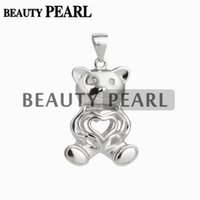 5 Pieces Lovely Bear Heart Cage Locket Wishing Pearl Gift 92...