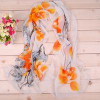 Caliente moda delgada mantón Turban bufanda gasa lavado pintura impresión Hijab cuello caliente bufanda de gasa mujeres niñas cabo 50 * 160 diadema larga