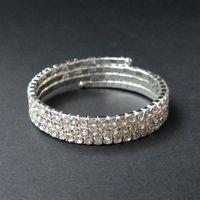 3 Linhas De Casamento De Noiva Espiral Strass Cristal Stretch Pulseiras Bangle Banhado A Prata e Banhado A Ouro Acessórios de Jóias para As Mulheres