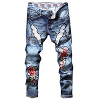 Italian Designer Men Jeans luxury Crane Rose Embroidered Jea...