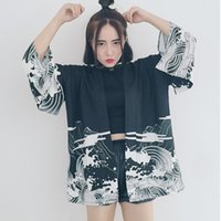 Mujer Vintage Dragon Waves Impreso Chifón Protección Solar Ladies Cardigan Kimono Sun Shirt Mujer Ropa Abrigos