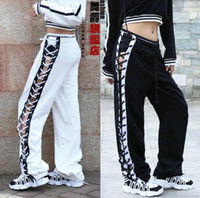 New fashion drawstring lace up pants girls Patchwork cotton ...