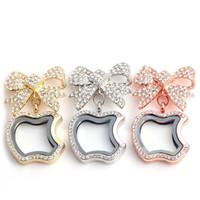 2017 جديد 3 ألوان كاملة الماس كريستال الفراشة القوس + التفاح شكل العائمة المناجد المعلقات ل diy المنجد القلائد