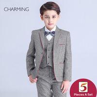 Brand New Jungen grauen Smoking britischen Stil Langarm Anzug grau karierten Jungen 3 Stück Anzug Rabattaktion Von China Lieferanten