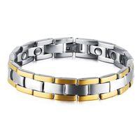 Bracciale in argento da uomo in acciaio al titanio terapia magnetica Potenza Bracciale in argento Bracciale in oro per uomo regalo di amicizia