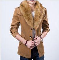 Hurtownie-2015 Marka Mężczyźni Wełna Mieszanki Płaszcz Z Luksusowym Futro Kołnierz dla Mężczyzn Trend Zima Miękki Średnio-Długi All-Dopash