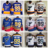 빈티지 세인트 루이스 블루스 웨인 그레츠키 하키 유니폼 CCM 빈티지 99 Wayne Gretzky 저지 스티치 저렴한 망 하키 유니폼 C 패치