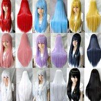 9 색 여성 내열성 머리 가발 핑크 블랙 블루 레드 옐로우 화이트 금발 퍼플 80cm 롱 스트레이트 코스프레 헤어 파티 합성 가발