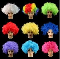 Хэллоуин диско вьющиеся парики радуга афро парики косплей парики клоуна голова ребенок взрослый костюм футбольный фанат парики волосы для развлечения
