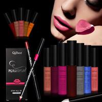 Venta al por mayor a prueba de agua maquillaje mate terciopelo líquido lápiz labial brillo de labios + delineador de labios pluma + pinceles de maquillaje conjuntos de larga duración cosméticos