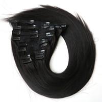 """160g 22 """"clip in estensioni per capelli Indian Remy capelli umani 10 PZ colore Nero"""