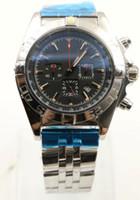 Alta Qualidade 45mm Quartzo Cronógrafo Mens Relógios Relógios Disco Redondo Preto com Três Discos Deputados e Bezel Rotativa