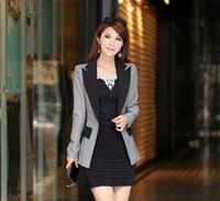 Moda kadın Sonbahar Şeker blazer Palto kadın Bir Düğme Ofis Blaser patchwork Renk takım Uzun ceket Giyim XXXL