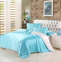 بالجملة، التوت مجموعات الفراش الحرير لحاف الغطاء المفرش ملاءة سرير الملك / الملكة / بالحجم الكامل الفراش الحرير