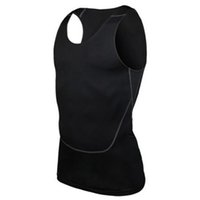 Al por mayor-Chic Men Compression Base Line entrenamiento Fitness sin mangas camisa chaleco transpirable superior S-2XL