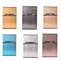 Uso en el hogar Portable Men's Light Aluminium Pocket Cigar Cigarette Case Box Storage Tabaco Holder Contenedor 6 colores