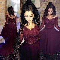 Fabuloso de dos piezas de alta baja vestidos de baile con cuello en V ilusión mangas largas Vintage Lace Crop Top vestidos de regreso al marrón vestidos por encargo