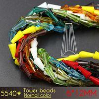 6x12mm Colori Normali Perle Torre A5540 50 pezzi / set perline in vetro murano perline in vetro per nacklace