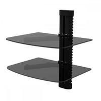 2 tier glass shelf wall mount bracket for dvd players cable boxes - Glass Shelf Brackets
