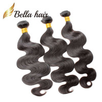 BellaHair® 100% Unprocessed Peruvian Human Hair Extensions Natural Color 9A Queen Weave 2 Bundles Body Wave Weft