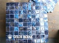 couleur bleu foncé coquille d'eau douce mère de nacre mosaïque pour intérieur maison décoration salle de bain cuisine mur carreau coquille mosaïque 30x30mm