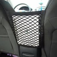 28x25cm universel siège de voiture arrière de stockage maille filet sac porte-bagages autocollant de poche coffre organisateur forte magie ruban accessoires