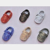 Baby Moccasins Genuine Leather Gold Dots High Quality Cow Le...