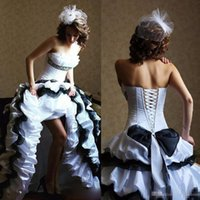 Vintage Black And White Gothic A Line Wedding Dresses Strapl...