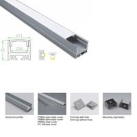 10 X 1M комплектов / много П-образный алюминиевый профиль под руководством и анодированный серебра привело экструзии канала для потолка или стены утопленное освещение