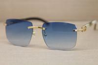 Marca Designer Sunglassses Luxo Moda Sem Aro Óculos De Sol Exquisite Preto Branco Búfalo Chifre Óculos para Mulheres Dos Homens 8300816 Caso Original