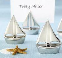 Silberner Segelboot-Platz-Karten-Halter mit zusammenpassender Karte für Strand-Hochzeits- und Parteidekorationen