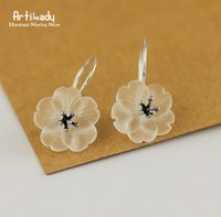 Artilady 925 sterling silver stud brincos moda piezoeletricidade flor de cristal branco brincos para as mulheres de jóias