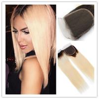 Горячие продажи оптовая цена бразильский волос кружева закрытия 4x4 прямой бразильский блондинка 1b 613 Омбре волос кружева закрытия
