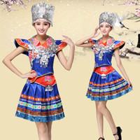 blu costumi di ballo femminili di nuovo arrivo dei vestiti cinese Miao costumi di scena vestito da prestazione tradizionale nazionale di usura etnica per cantanti
