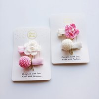 Everweekend Baby Girls Knitted Floral Ball Hair Clips Hairpi...