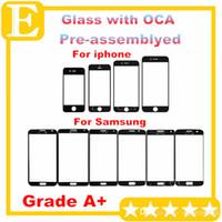 الصف A + آيفون 4 5 6 عدسة الزجاج الخارجي الأمامي مع فيلم OCA قبل تجميعها لسامسونج غالاكسي S4 S5 أسود أبيض 5PCS