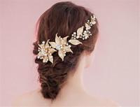 Accessori per capelli da sposa con fascia da sposa Accessori per capelli con foglia d'oro Corona diadema Strass di cristallo Copricapo Gioielli Copricapo barocco Pezzi da ballo