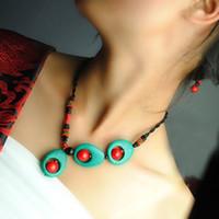 Collana del vento nazionale di alta qualità, catena della catena della clavicola del turchese, gioielli fatti a mano del pendente della collana di modo del vento cinese Gufeng a mano