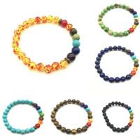 Neue Heilung Reiki Edelstein 7 Chakra Matt Achat Stein Lava Stein Armband Perlen Armband Yoga Schmuck Für Frauen Männer
