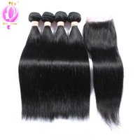 Top quality Straight Human Hair Bundles With Closure 4 Bundl...