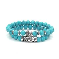Antique argent plaqué tête de Bouddha charme avec lave Onyx Turquoises pierre naturelle perles Bracelet Set Pack pour hommes femmes cadeau de Noël