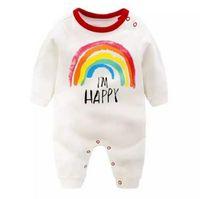 W032 Новая осень младенца детские розыгрыши детей мультфильм радуга с длинным рукавом хлопчатобумажные розыгрыши детей малыши детей комбинезон подниматься ценчивы