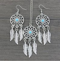Dream Catcher Earrings & Necklace Jewelry Sets For Women Sta...