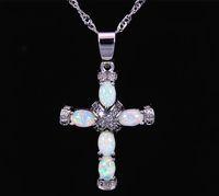 Pendenti in argento placcato pietra bianca Christian Fire Opal PJ16011004